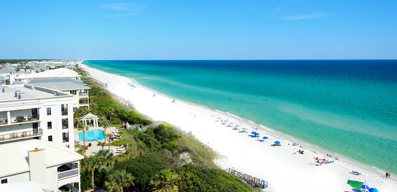 Balcony view of the beach and Gulf from our Santa Rosa Beach condo rentals