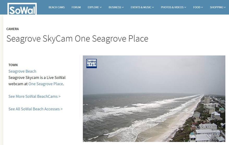 Screenshot of the live beach web cam at One Seagrove Place in Santa Rosa Beach, FL.